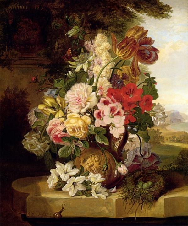 Натюрморт из тюльпанов, роз, других цветов и бабочки, гнездо и улитка : : Джон Вейнрайт - Цветы и натюрморты - картины художников прошлых веков фото