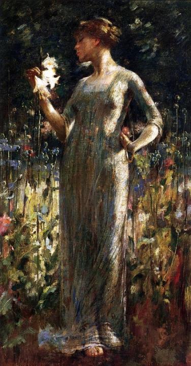 Дочь ночи ( девушка с букетом лилий ) :: Джон Уайт Александр - Цветы и натюрморты - картины художников прошлых веков фото