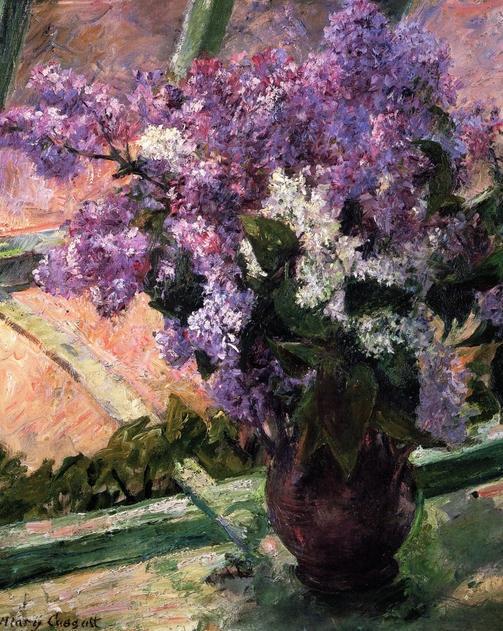картина Букет сирени на окне :: Мари Кассат - Цветы и натюрморты - картины художников прошлых веков фото