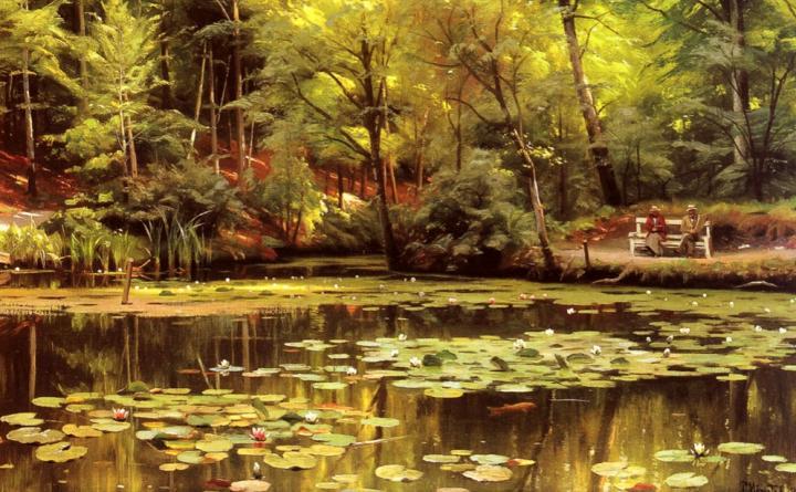 Пруд и лилии :: Педер Мок Манстэд - Цветы и натюрморты - картины художников прошлых веков фото