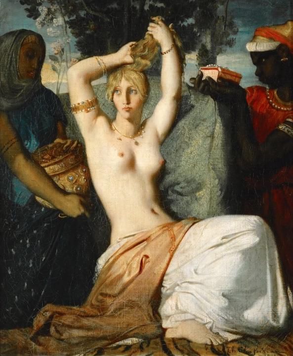 Туалет Эстер [Есфирь (Эсфирь)] :: Теодор Шассерио - Картины ню, эротика в шедеврах живописи фото