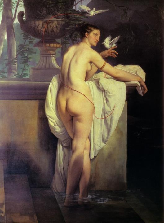 картина ню Обнажённая Венера, играющая с голубями :: Франческо Хейз - Картины ню, эротика в шедеврах живописи фото