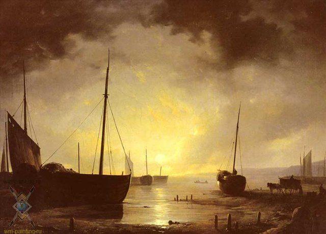 Рыбацкие лодки в порту при лунном свете :: Адрианус ван Хаанен ( Голландия ) - Море в живописи ( морские пейзажи, seascapes ) фото