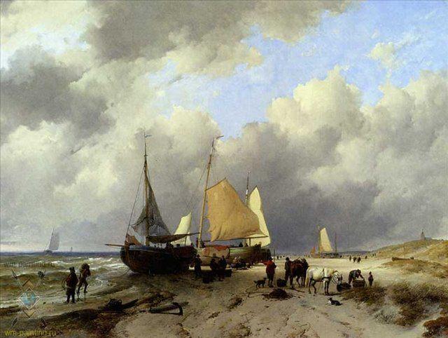 Разгрузка рыбацкой шхуны :: Адрианус ван Хаанен - Море в живописи ( морские пейзажи, seascapes ) фото