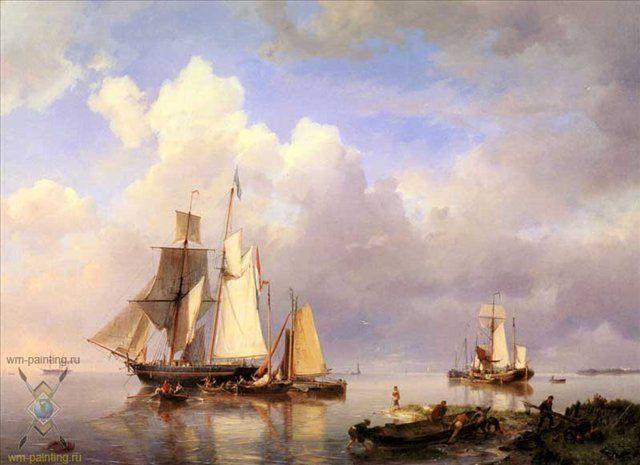 Парусники на якоре :: Коекоек  Иохан Германус - Море в живописи ( морские пейзажи, seascapes ) фото