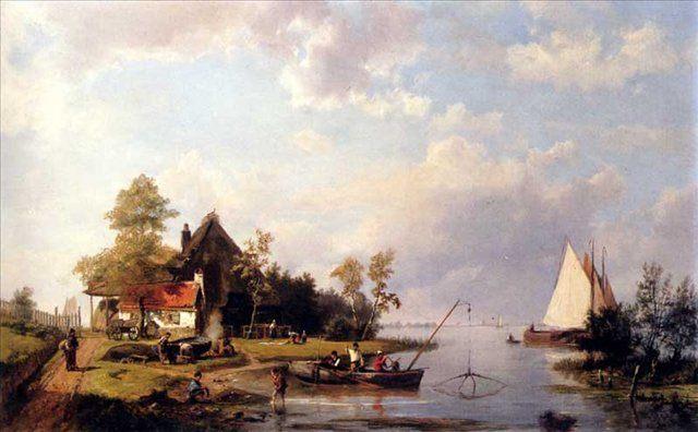 Речной пейзаж с переправой и фигурами ремонтирующими лодку :: Коекоек Йохан Херманус - Море в живописи ( морские пейзажи, seascapes ) фото