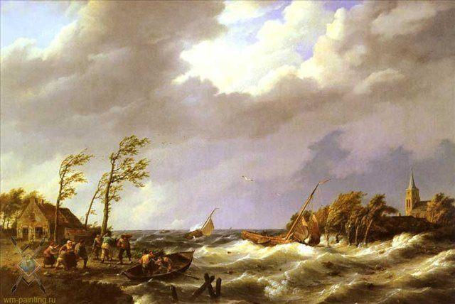 Рыболовецкие лодки попавшие в шторм :: Коекоек Йохан Германус - Море в живописи ( морские пейзажи, seascapes ) фото