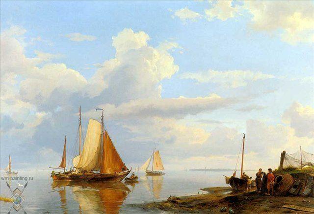 Корабли, прибывающие по тихому спокойному морю :: Коекоек Йохан Германус - Море в живописи ( морские пейзажи, seascapes ) фото
