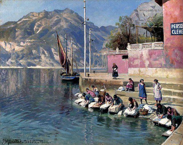Женщины за стиркой, Торболе :: Мёнстед Петер - Море в живописи ( морские пейзажи, seascapes ) фото