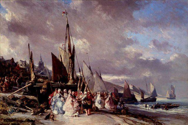 Сцена в порту :: Евгений Исабей ( Франция ) - Море в живописи ( морские пейзажи, seascapes ) фото