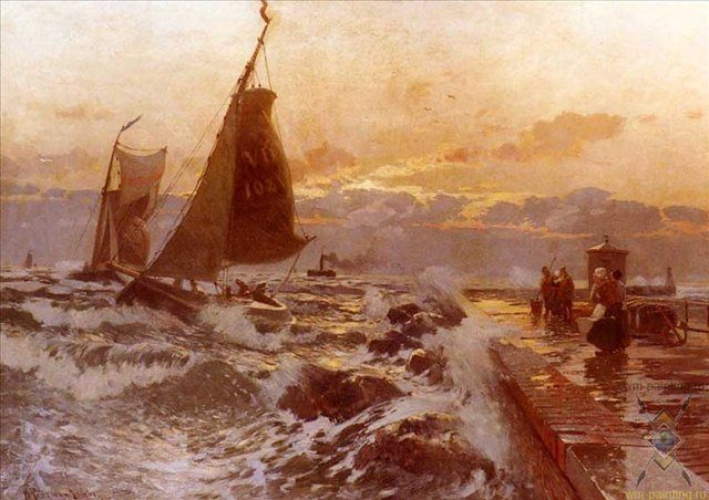 Лодки возвращающиеся в плохую погоду :: Хейнрих Петерсен - Море в живописи ( морские пейзажи, seascapes ) фото