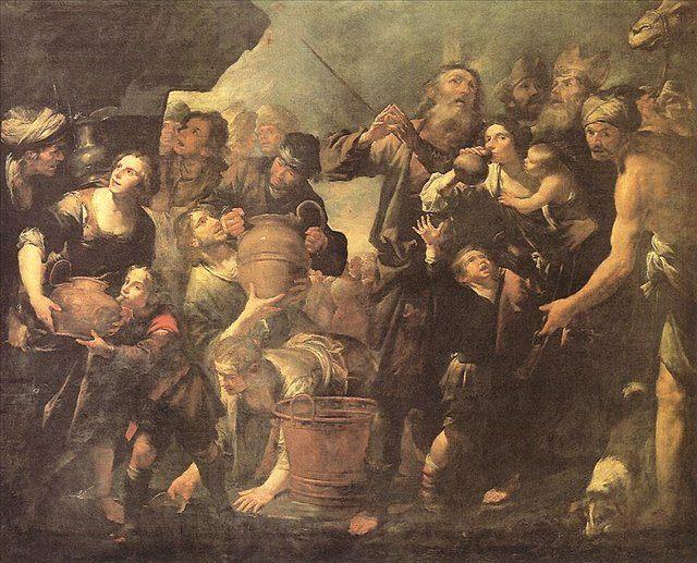 Моисей, добывающий воду из скалы :: Ассерето Джиочино ( италия ) - Библейские сюжеты в живописи фото