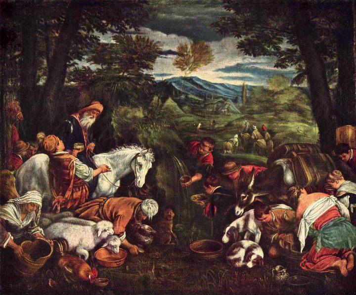 Моисей добывший воду из скалы :: Бассано Леандро - Библейские сюжеты в живописи фото