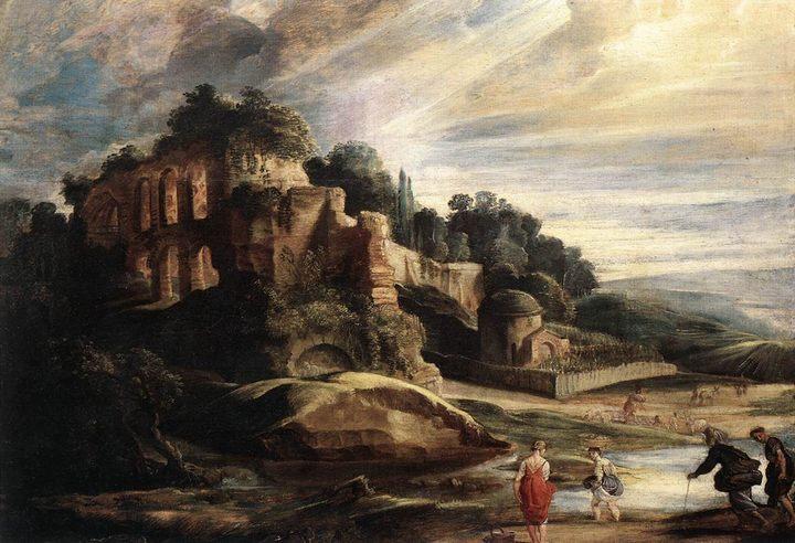Пейзаж с руинами у горы Палатин в Риме :: Питер Рубенс, описание картины - Peter Paul Rubens фото