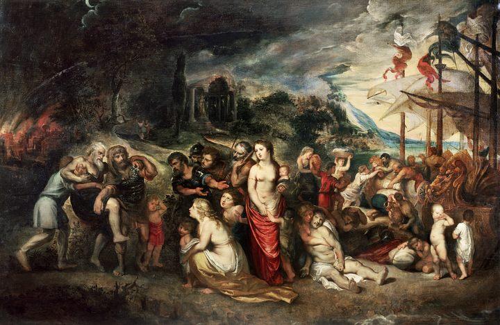 мифологические сюжеты в живописи Рубенса [ Эней и его семья бегут из Трои ] :: Питер Пауль Рубенс - Peter Paul Rubens фото