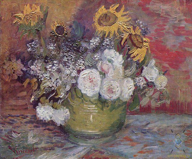 Натюрморт с розами и подсолнухами  :: Ван Гог - Van Gogh фото