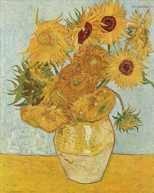 Подсолнухи в вазе :: Ван Гог, плюс статья Декорируем ванную комнату плиткой - Цветы и натюрморты - картины художников прошлых веков фото