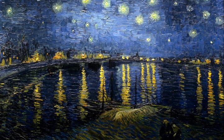 пейзаж Звёздная ночь над Роной :: Винсент Виллем Ван Гог, описание картины - Van Gogh фото