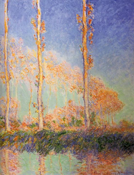 пейзаж Тополя, Три розовых дерева осенью :: Клод Моне - Claude Monet фото