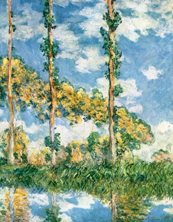 Тополя на реке Эпт в солнечном свете ::  Клод Моне, описание картины  - Claude Monet фото
