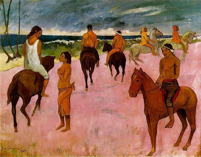 Всадники на пляже :: Поль Гоген - Paul Gauguin фото