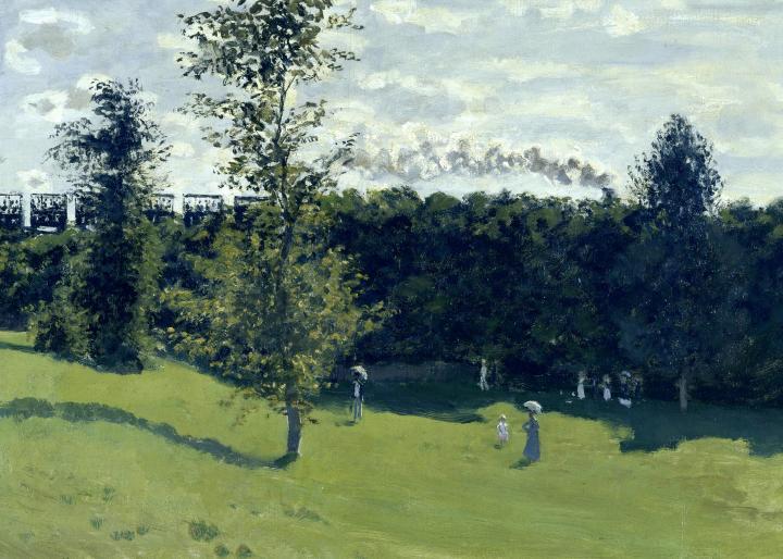 пейзаж Поезд в сельской местности :: Клод Моне, описание картины  - Claude Monet фото
