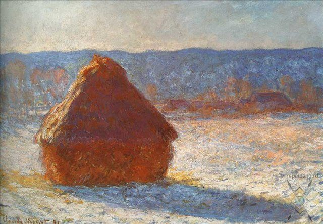 Стога, снег, утро :: Клод Моне, описание картины  - Claude Monet фото