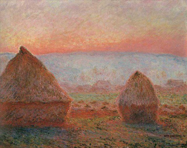Стога в Живерни, заход солнца :: Клод Моне, описание картины  - Claude Monet фото
