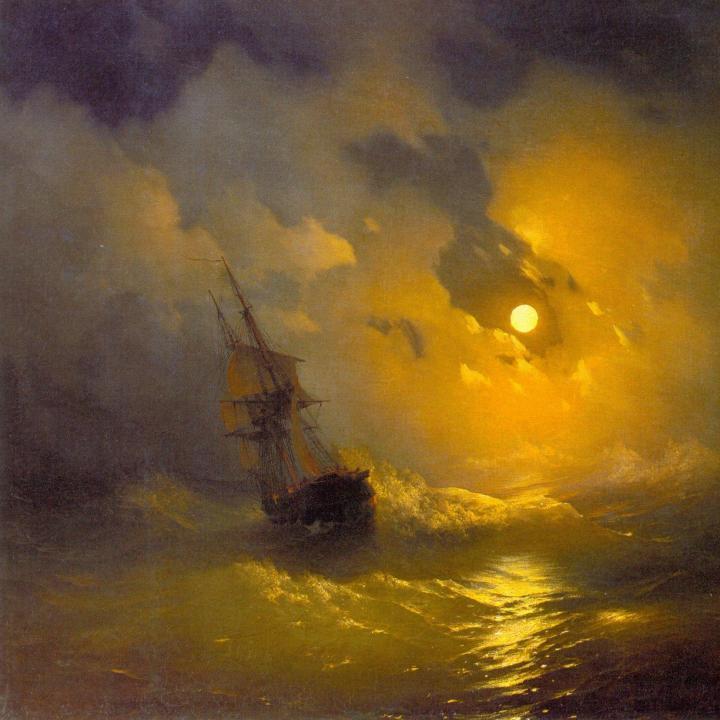 картина Буря на море ночью :: Айвазовский Иван Константинович - Aivazovsky, Ivan Constantinovich фото