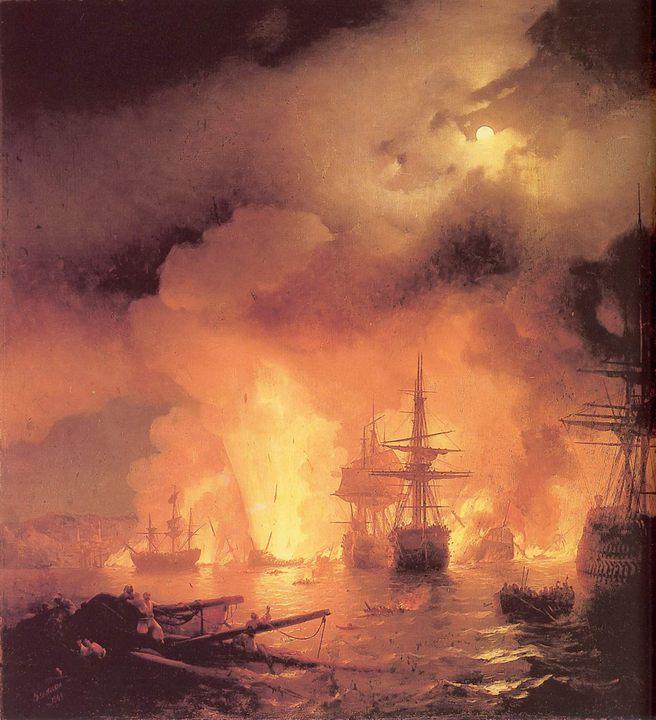 Чесменский бой :: Айвазовский И.К., описание картины - Aivazovsky, Ivan Constantinovich фото