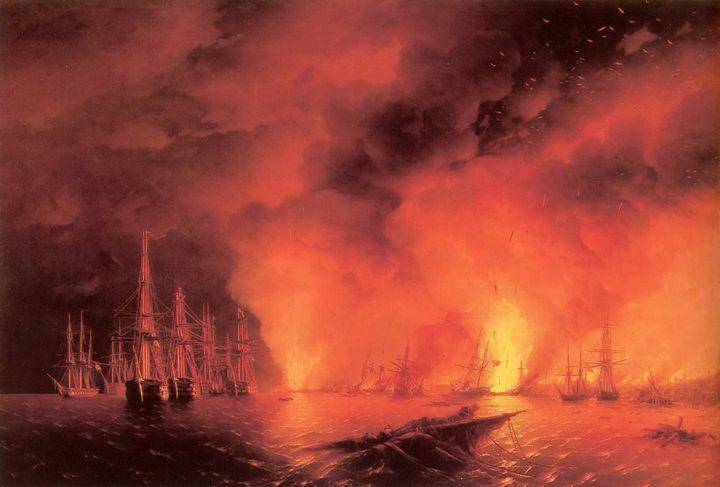 Синопский бой :: Айвазовский И.К., описание картины - Aivazovsky, Ivan Constantinovich фото