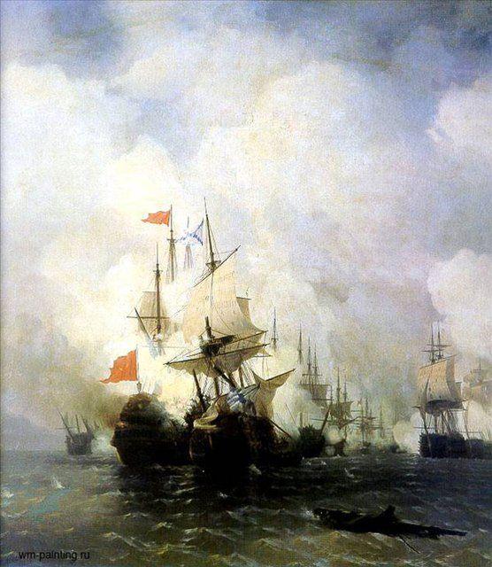 Бой в Хиосском проливе 24 июня 1770 года :: Айвазовский И.К., описание картины  - Aivazovsky, Ivan Constantinovich фото