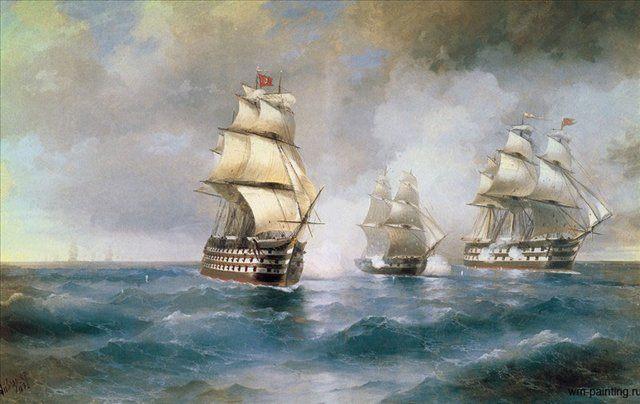 """Бриг """"Меркурий"""", атакованный двумя турецкими кораблями, батальная живопись :: Айвазовский И.К., описание картины - Aivazovsky, Ivan Constantinovich фото"""