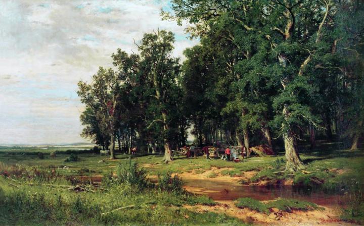 На покосе в дубовой роще :: Шишкин И.И., описание картины - Ivan Shishkin фото