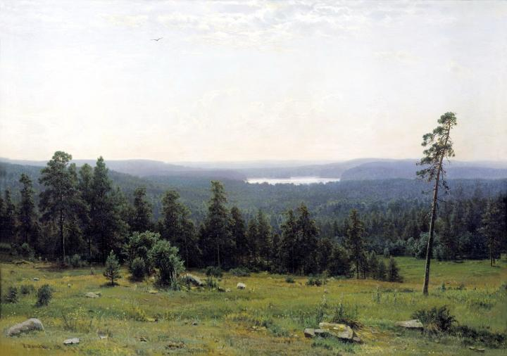 Река Кама вдали :: Шишкин И.И., описание картины - Ivan Shishkin фото