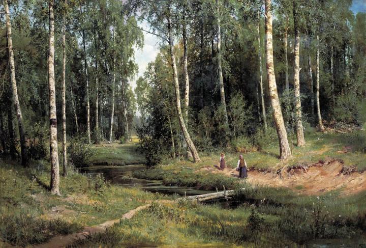 картина Ручей в березовом лесу :: Шишкин И.И., описание картины - Ivan Shishkin фото