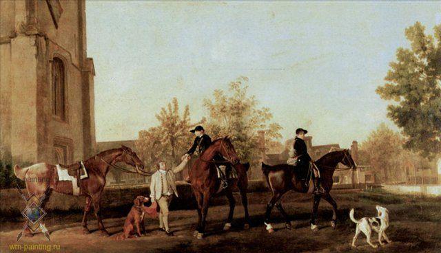 Охотники, выезжающие из Саутхилла ::  Джордж Стаббс - Жанровые сцены фото