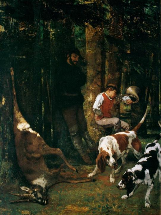 Добыча (псовая охота) :: Курбе Густав ( Франция ) - Жанровые сцены фото