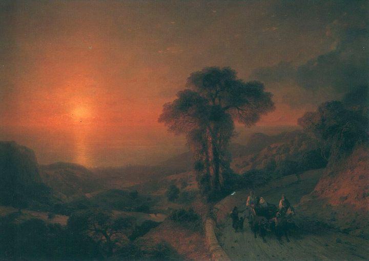 Вид моря с гор при закате солнца ::  Айвазовский И.К. ( Ivan Constantinovich Aivazovsky ) - Aivazovsky, Ivan Constantinovich фото
