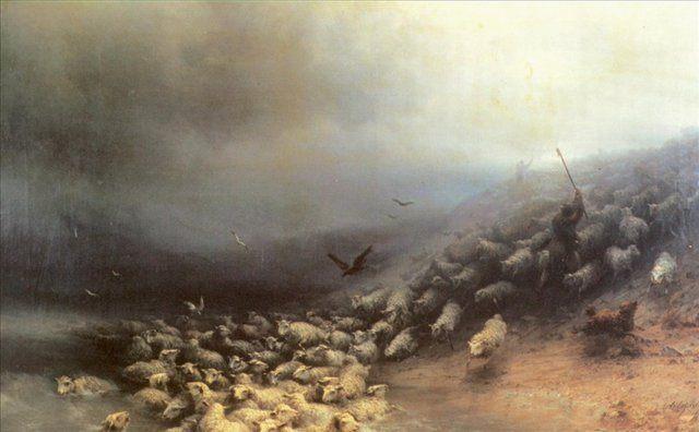 Отара овец в бурю :: Айвазовский И.К. ( Ivan Constantinovich Aivazovsky ) - Aivazovsky, Ivan Constantinovich фото