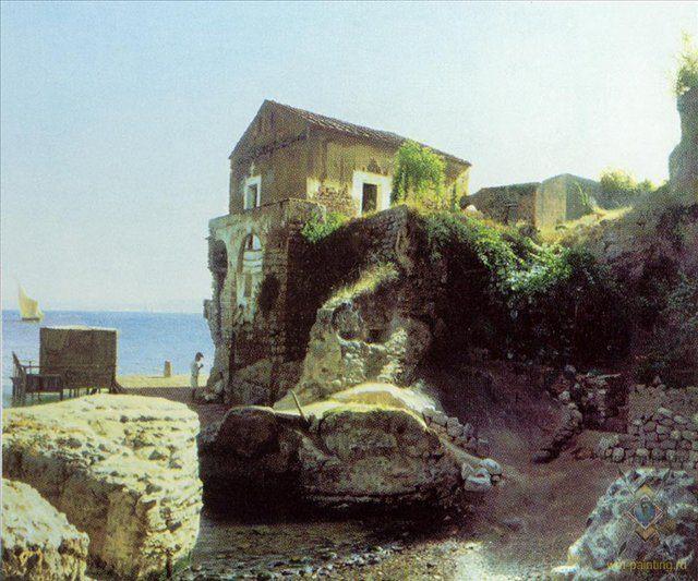 На острове Капри. Рыбацкий домик :: Лагорио Л. Ф. - Море в живописи ( морские пейзажи, seascapes ) фото