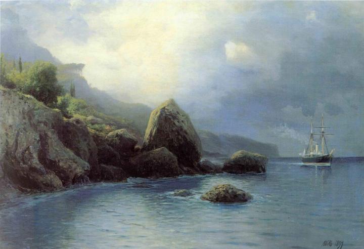 картина На берегу :: Лагорио Л. Ф. - Море в живописи ( морские пейзажи, seascapes ) фото