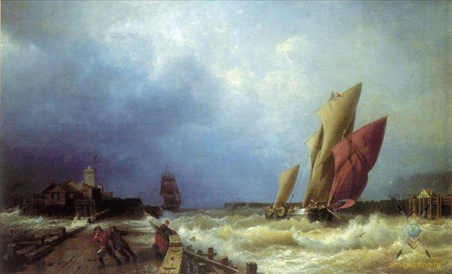 Вход рыбачьего судна в бурю в гавань Сен-Валери в Ко (Франция) :: Боголюбов А. П. - Море в живописи ( морские пейзажи, seascapes ) фото