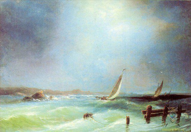Морской вид. (Марина) :: Боголюбов А. П. - Море в живописи ( морские пейзажи, seascapes ) фото