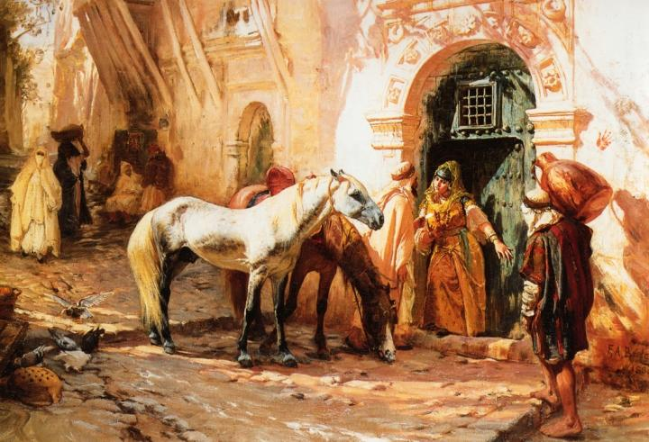 уличны пейзаж Сцена в Марокко :: Бридгман Фредерик Артур - Арабский восток фото