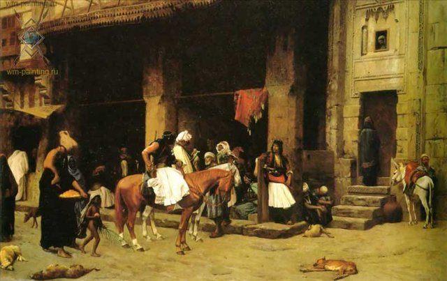 картина Сцена на улице Каира :: Жером Жан-Леон - Архитектура фото
