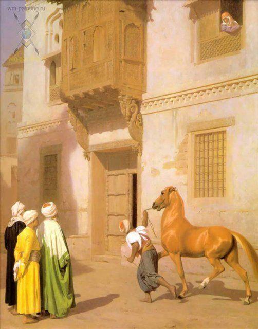 картина Каирский торговец лошадьми :: Жером Жан-Леон ( Франция ) - Архитектура фото