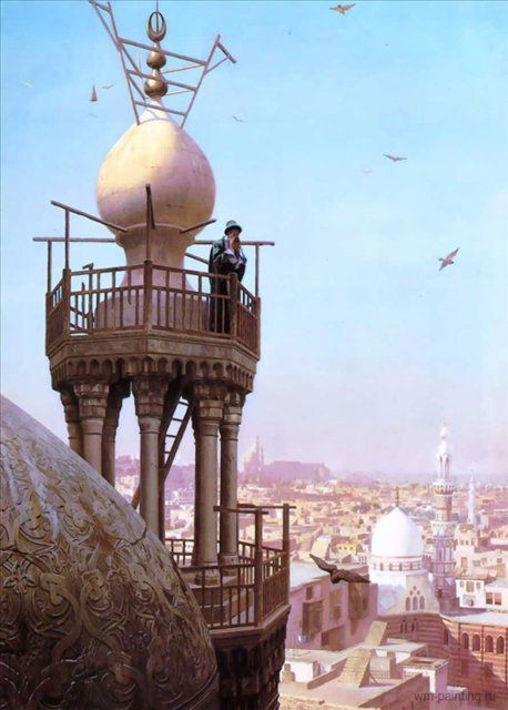 Муэдзин, призывающий на молитву с минарета мечети :: Жером Жан-Леон  [ A Muezzin Calling from the Top of a Minaret the Faithful to Prayer ] - Архитектура фото