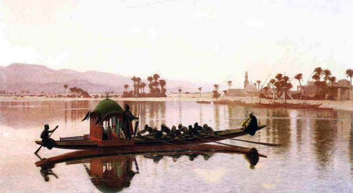 пейзаж Прогулка гарема :: Жером Жан-Леон (Франция) - Арабский восток фото