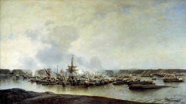 Сражение при Гангуте 27 июля 1714 года ::  Боголюбов А.П. - Море в живописи ( морские пейзажи, seascapes ) фото